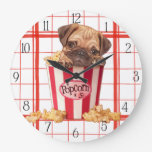 Popcorn pug puppy wall clock