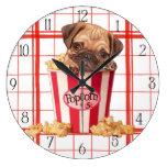 Popcorn pug puppy wallclocks