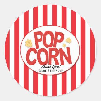 Popcorn Red & White Stripe Movie Party Favor Classic Round Sticker