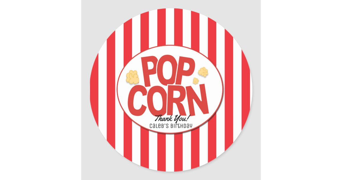 Popcorn Red Amp White Stripe Movie Party Favor Classic Round