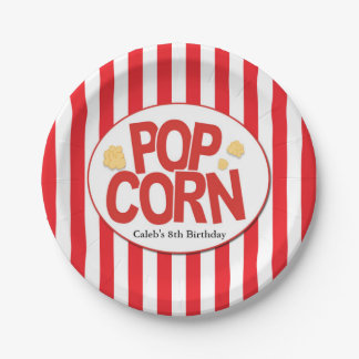 Popcorn Red & White Stripe Movie Party Paper Plate
