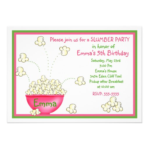 Personalized movie birthday invitations custominvitations4u popcorn slumber party invitations filmwisefo