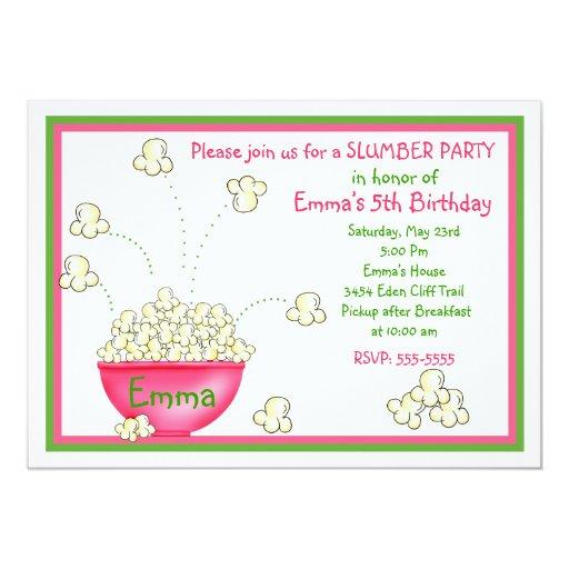 Popcorn Slumber Party Invitations