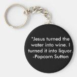 Popcorn Sutton Basic Round Button Keychain