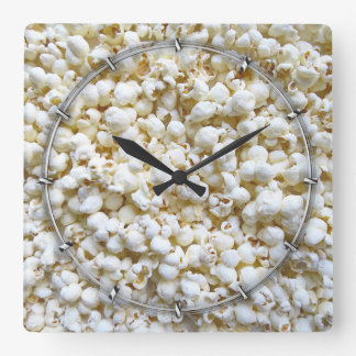 Popcorn Texture Photography Square Wall Clock