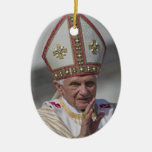 Pope Benedict XVI Double-Sided Oval Ceramic Christmas Ornament