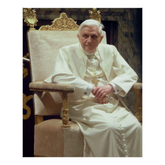 Pope Benedict XVI Sitting in His Chair Poster
