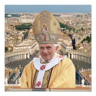 Pope Benedict XVI with the Vatican City 5.25x5.25 Square Paper Invitation Card