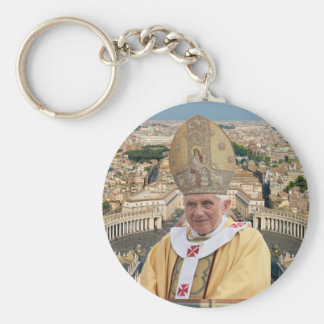 Pope Benedict XVI with the Vatican City Basic Round Button Keychain