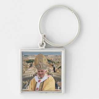 Pope Benedict XVI with the Vatican City Silver-Colored Square Keychain