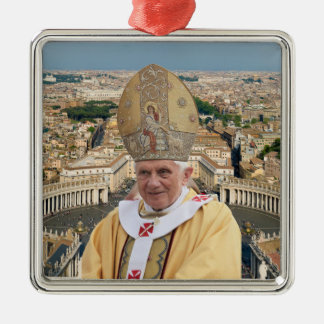 Pope Benedict XVI with the Vatican City Square Metal Christmas Ornament