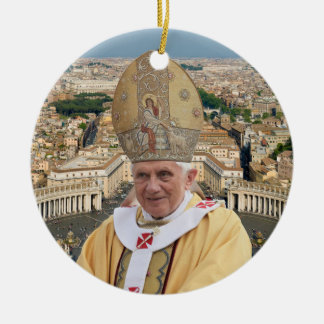 Pope Benedict XVI with the Vatican City Double-Sided Ceramic Round Christmas Ornament
