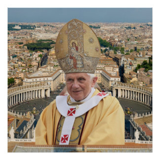 Pope Benedict XVI with the Vatican City Poster