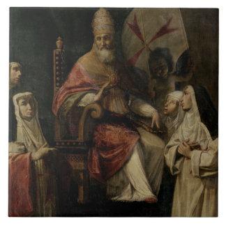 Pope Clement VIII blessing Carmelite Nuns (oil on Ceramic Tile