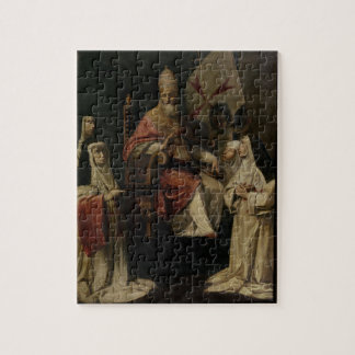Pope Clement VIII blessing Carmelite Nuns (oil on Jigsaw Puzzle