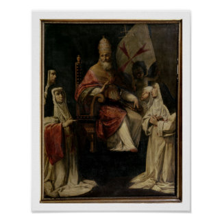 Pope Clement VIII blessing Carmelite Nuns (oil on Poster
