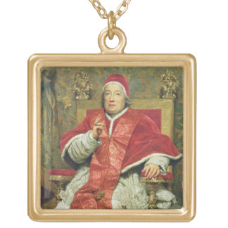 Pope Clement XIII (1693-1769) (oil on canvas) Gold Plated Necklace