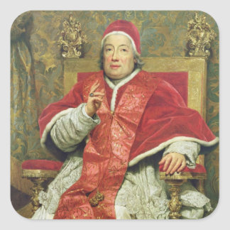Pope Clement XIII (1693-1769) (oil on canvas) Square Sticker