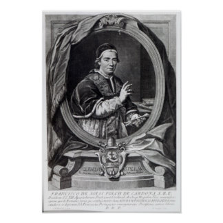 Pope Clement XIV, engraved by Domencio Cunego Poster