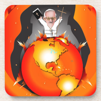 Pope Climate Change Beverage Coaster