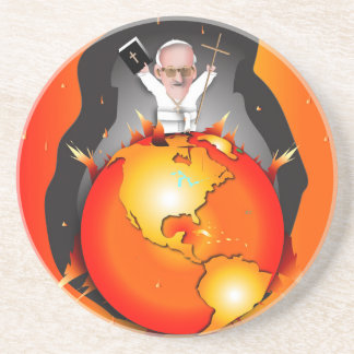 Pope Climate Change Drink Coaster