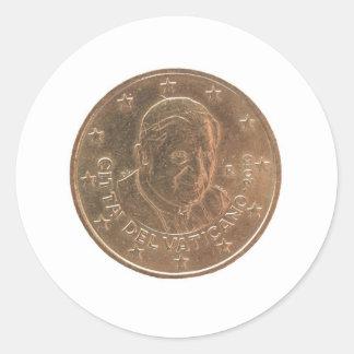 Pope coin classic round sticker