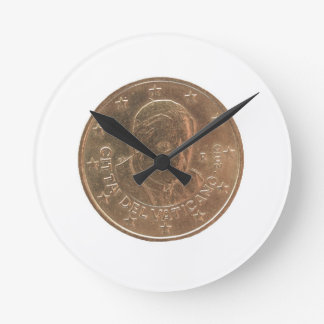 Pope coin round clock