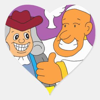 Pope Francis & Ben Frankin Heart Sticker