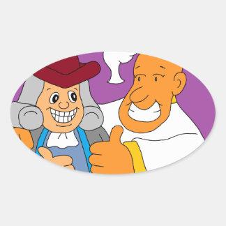 Pope Francis & Ben Frankin Oval Sticker