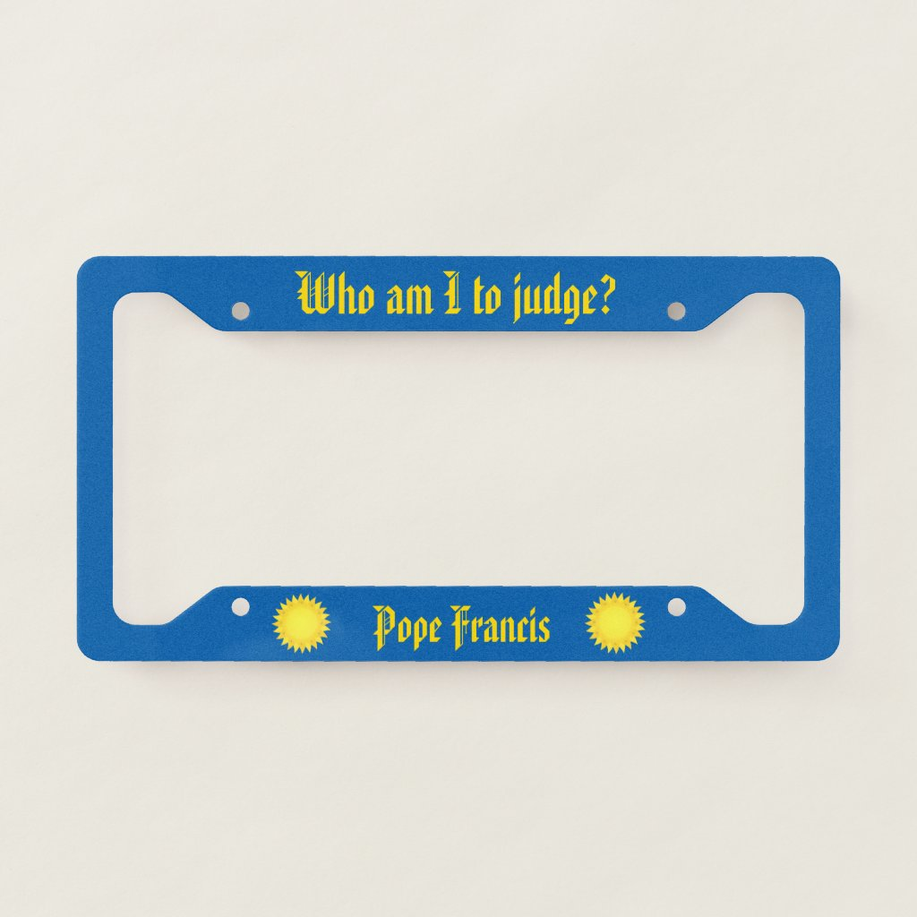 Pope Francis Blue License Plate Frame