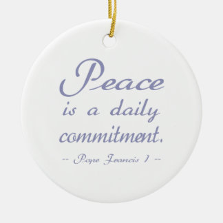 Pope Francis Peace Commitment Double-Sided Ceramic Round Christmas Ornament