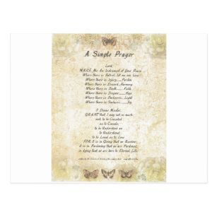 pope francisst francis simple prayer butterflie postcard