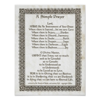 POPE FRANCIS=ST. FRANCIS SIMPLE PRAYER=Parchment Poster