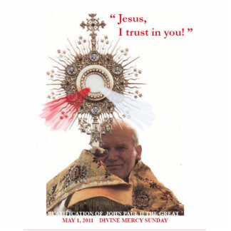 Pope John Paul II & Divine Mercy photosculpture Statuette