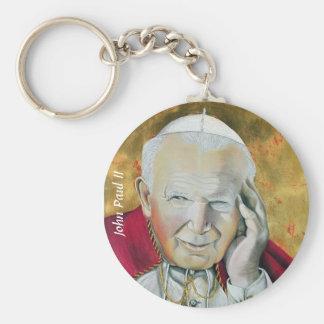 Pope John Paul II Basic Round Button Keychain