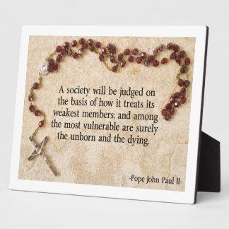 Pope John Paul II Quote Plaque