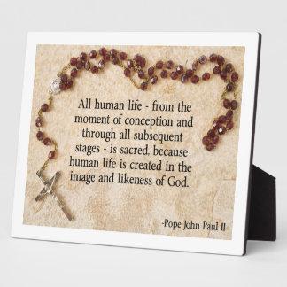 Pope John Paul Pro-Life Plaque