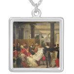 Pope Julius II ordering Bramante Square Pendant Necklace