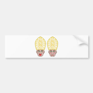 Pope Manga Cartoon Face Bumper Sticker