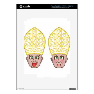 Pope Manga Cartoon Face iPad 3 Decals