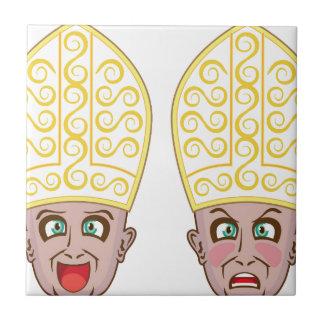 Pope Manga Cartoon Face Tile