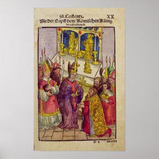 Pope Martin V gives Sigismund symbolic gift Poster