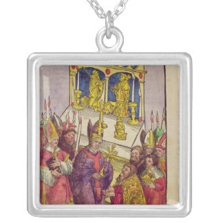 Pope Martin V gives Sigismund symbolic gift Silver Plated Necklace