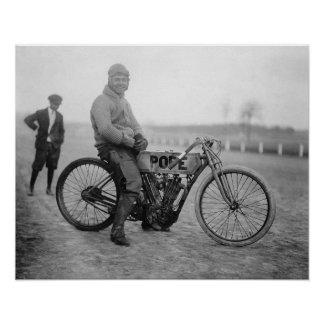 Pope Motorcycle Racer, 1915. Vintage Photo Poster