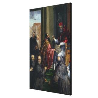 Pope Paul IV Handing over a Statute Canvas Print