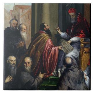 Pope Paul IV Handing over a Statute Tile