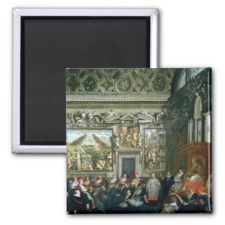 Pope Paul V  with an Audience, 1620 2 Inch Square Magnet