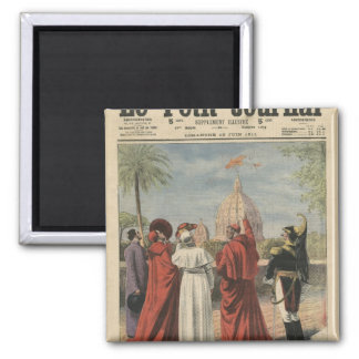 Pope Pius X watching  airplane of Andre Beaumont Refrigerator Magnet