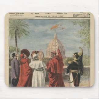 Pope Pius X watching  airplane of Andre Beaumont Mouse Pad