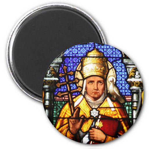 Pope Saint Gregory the Great - Stained Glass 2 Inch Round Magnet